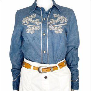 Roper denim chambray embroidered pearl snap shirt